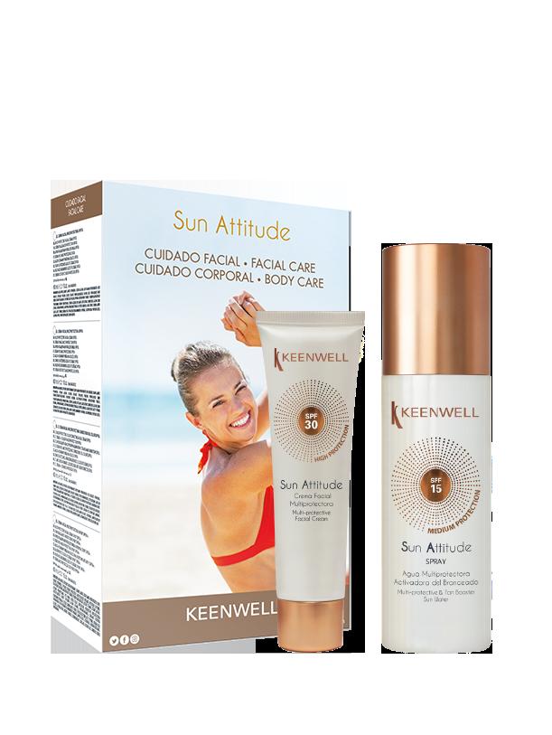 Facial Cream SPF 30 + Spray Multi-protective & Tan Booster Sun Water SPF15
