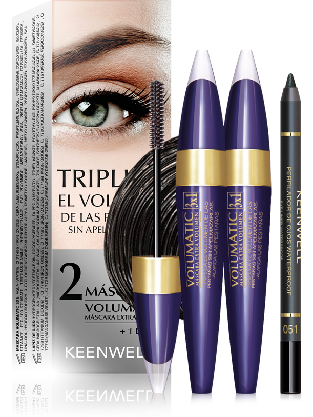 PACK 2 VOLUMATIC 3 x 1 MASCARAS + EYE LINER PENCIL